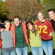 Stock Photo: Football: Group of Friends on an Autumn Day