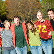 Football: Group of Friends on an Autumn Day — Stock Photo