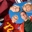 Football: Group of Friends Huddle Up — Stock Photo