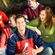 Football: Relaxing with Friends in Park — Stock Photo