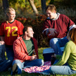 Football: Group of Friends Having Picnic in Park — Stok fotoğraf