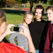 Football: Friends Have Picture Taken — Stock Photo