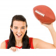 Cheerleader: Looking Over White Card with Football — Stock Photo