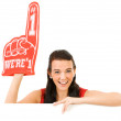 Cheerleader: Wearing a Foam Finger — Stock Photo