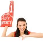 Cheerleader: Wearing a Foam Finger — Stock Photo