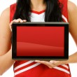 Cheerleader: Blank Digital Tablet — Stock Photo