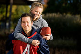 Football : Girlfriend Rides ferroutage — Photo