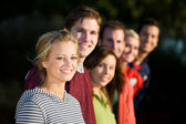 Football: Group of Friends Looking at Camera — Stock Photo