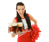 Cheerleader: Holding a Handful of Beer Mugs — Stock Photo