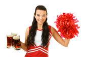 Cheerleader: Holding Mugs of Beer — Foto de Stock