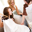 Bridal Shower: Bride Shows Off Dress — Stock Photo