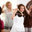 Stock Photo: Bridal Shower: Happy Bride and Friends with Gown