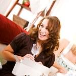 Bridal Shower: Woman Gets Crystal Stemware — Stock Photo