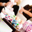 Baby Shower: Baby Dolls on Table — Stock Photo