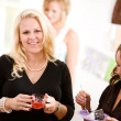 Baby Shower: Mom Having Party Punch — Stock Photo
