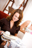 Bridal Shower: Bride Opening Gift — Stock Photo