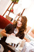 Bridal Shower: Woman Gets Crystal Stemware — Stock Photo