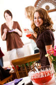 Bridal Shower: Woman Holding Glass of Punch — Stock Photo