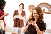 Bridal Shower: Woman with Glass of Punch — Stock Photo