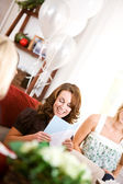 Bridal Shower: Bride Gets Card — Stock Photo
