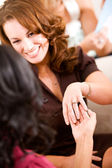 Bridal Shower: Woman Shows Off Engagment Ring — Stock Photo