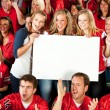 Fans: Excited Women Cheering with Blank Sign — Stok fotoğraf