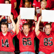 Stock Photo: Fans: Guys Holding Up Small Blank Signs
