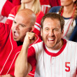 Fans: Pumped Up Baseball Fan Cheers to Camera — Stock Photo