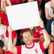 Fans: Fan Holds Up Blank Sign — Stock Photo