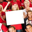 Fans: Woman Holds Blank Sign to Camera — Stock Photo