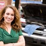 Mechanic: Cheerful Auto Shop Customer — Stock Photo