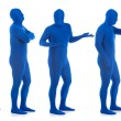Stock Photo: Blue: Group of Blue Men in Line