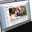Stock Photo: 3d: News Story on Laptop: Kids Trick or Treating on Halloween