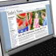 Stock Photo: 3d: News Story on Laptop: July 4th Holiday Report