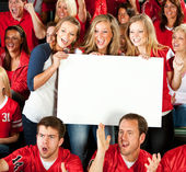 Fans: Excited Women Cheering with Blank Sign — Stock Photo