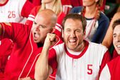 Fans: Pumped Up Baseball Fan Cheers to Camera — Stok fotoğraf