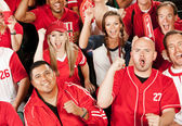 Fans: Exctied Fans Cheer for Team — Stock Photo