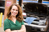 Mechanic: Cheerful Auto Shop Customer — Stock Photo