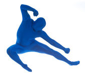 Blue: Jumping Man Does Karate Move — Stock Photo
