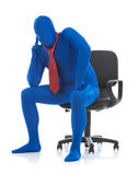 Blue: Thinking Businessman in Chair — Stock Photo