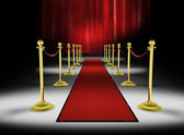 3d: Red Carpet with Red Curtain Background — Stock Photo