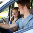Driving: Driver Reading Text Message — 图库照片