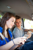 Driving: Driver Not Paying Attention to Road — Stock Photo