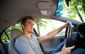 Driving: Driver Paying Attention to Road — Stock Photo