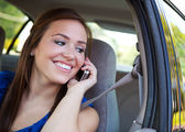 Driving: Teen Female on Phone in Car — Stock Photo
