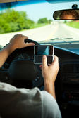 Driving: Texting While Driving — Stock Photo