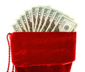 Christmas: Christmas Stocking with Money — Stock Photo