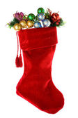 Christmas: Red Christmas Stocking with Decorations — Stock Photo