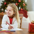Christmas: Little Girl Writing Letter To Santa Claus — Stock Photo