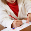Christmas: Little Girl Writing Letter To Santa Claus — Stock Photo #32969351